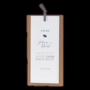 Hippe trouwkaart van Buromac met kraftpapier labels I 108010
