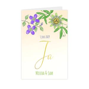 Getekende trouwkaart met bloemen en goudfolie 'Ja'