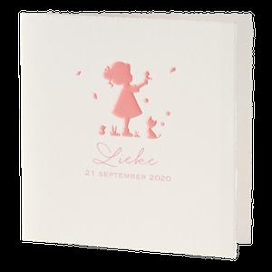 Oud Hollands geboortekaartje met meisje in silhouet I 586094