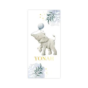 Goudfolie babykaartje jongen met olifant