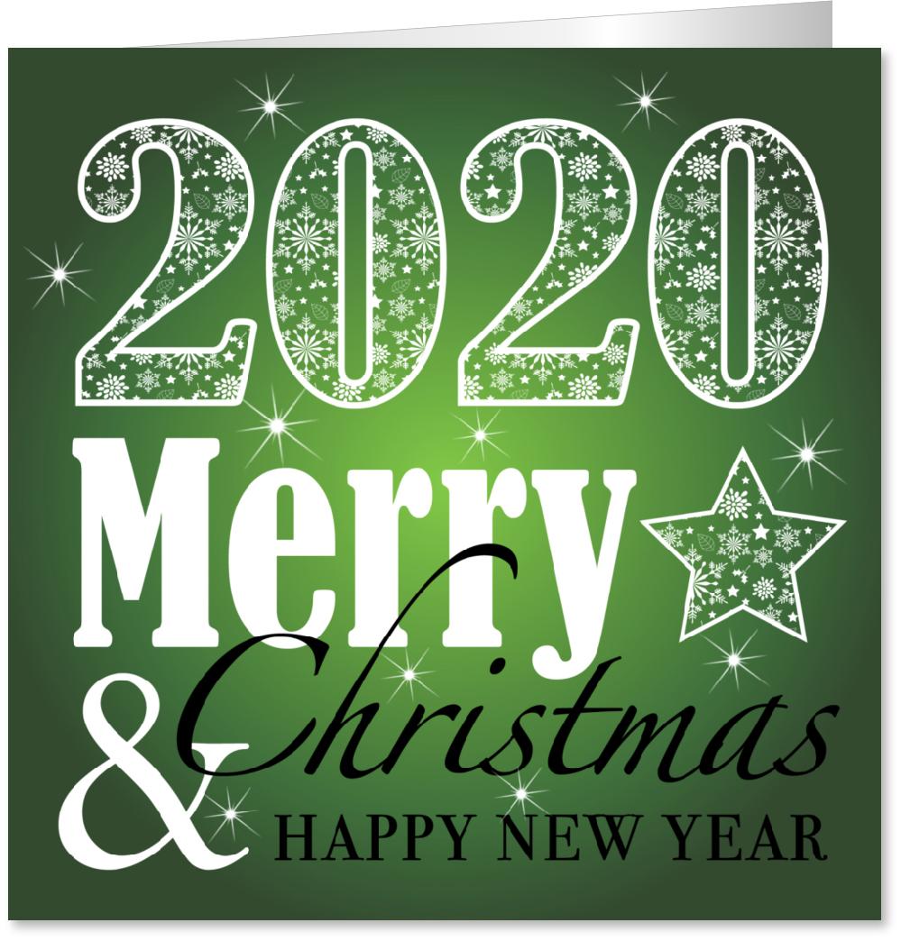 Kerstkaart typografie groen