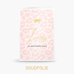 Goudfolie geboortekaartje meisje met roze panterprint