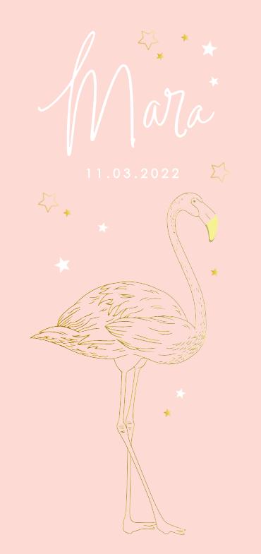Dieren geboortekaartje goudfolie meisje met flamingo