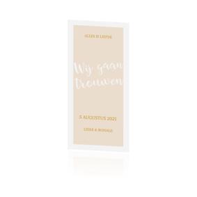 Hippe goudfolie trouwkaart met klassiek kader