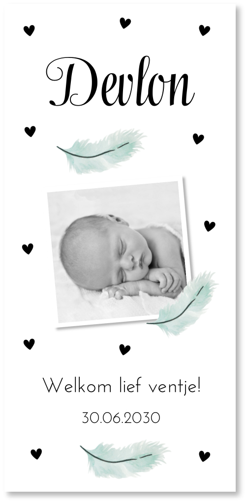 Geboortekaartje jongen foto veertjes