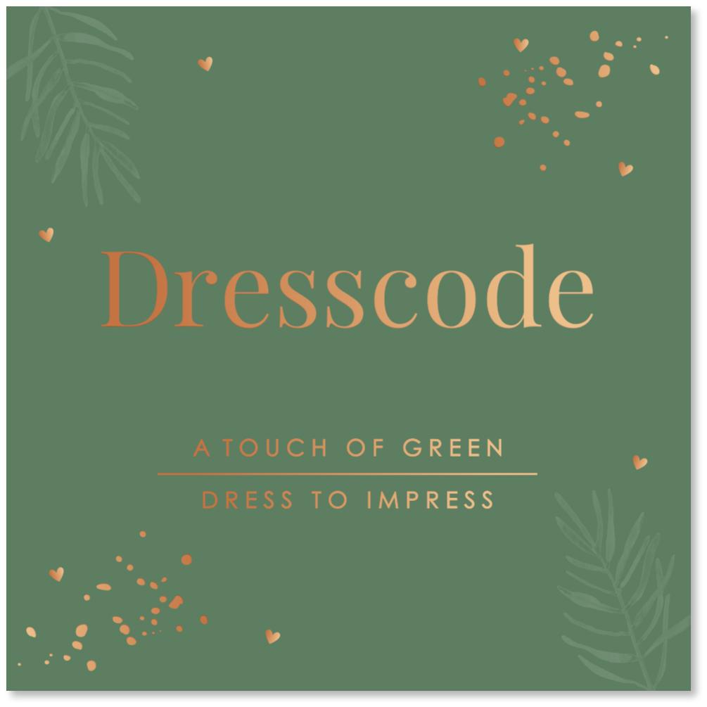 KOPERFOLIE Dresscode kaartje groen