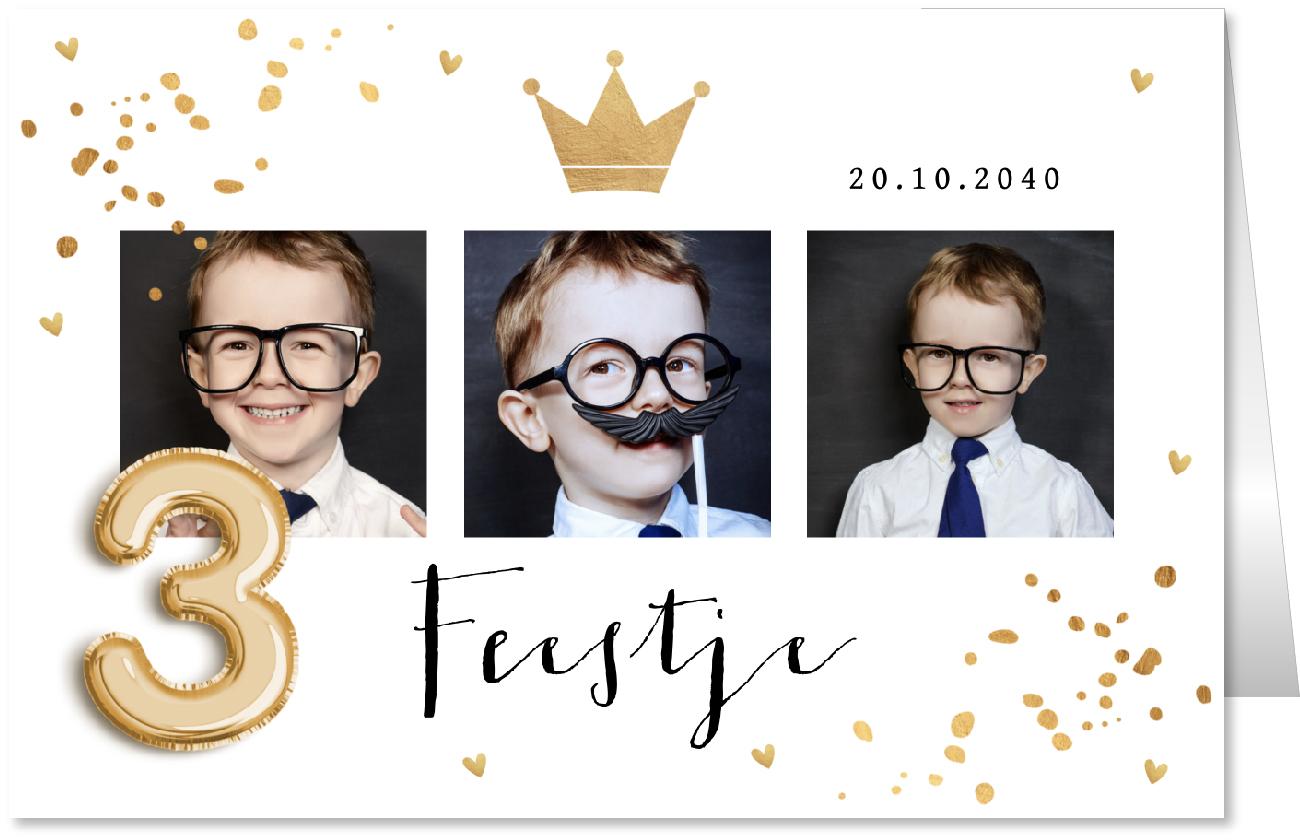 Kinderfeestje fotocollage confetti goud