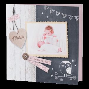 Stoer geboortekaartje met krijtbord en foto I 586073