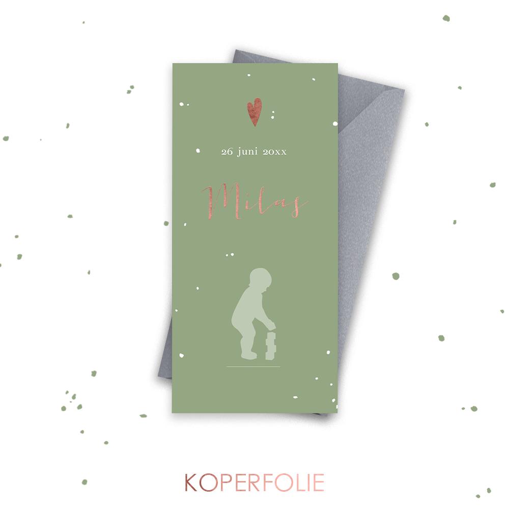 Koperfolie Silhouet geboortekaartje jongen met blokken