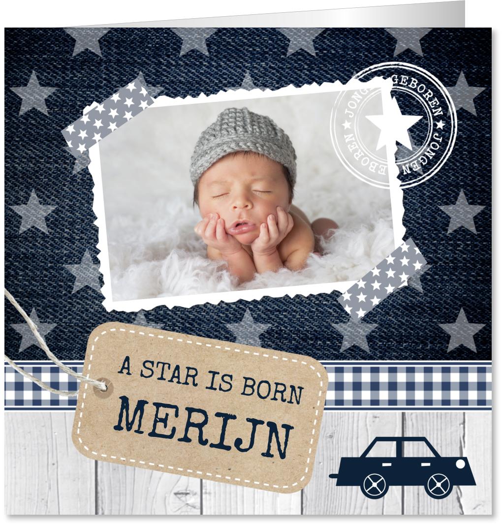 Geboortekaartje foto label