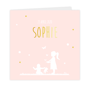 Goudfolie geboortekaartje voor een zusje met vlinders en confetti