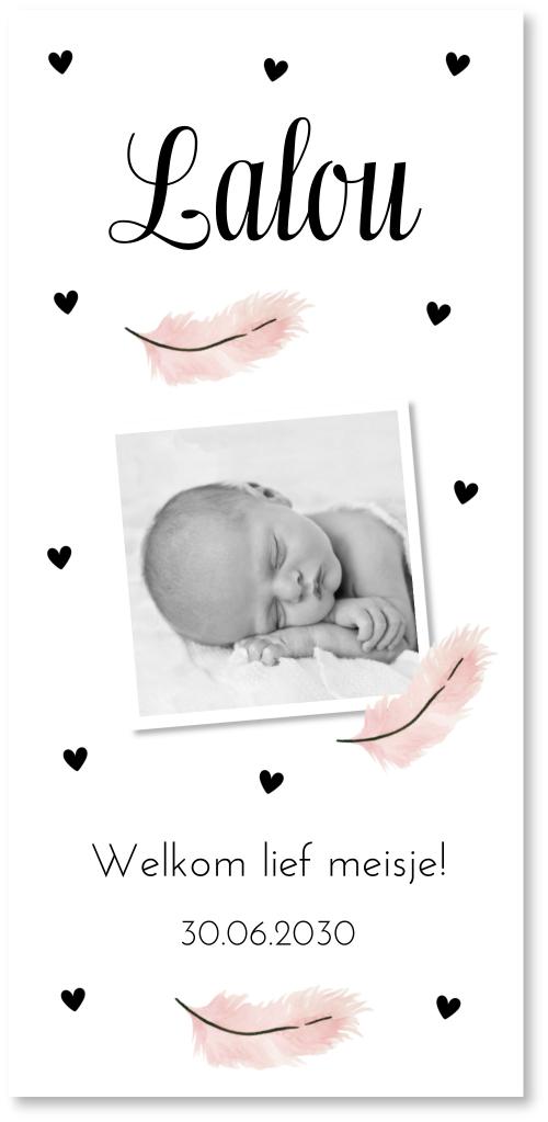 Geboortekaartje foto veertjes