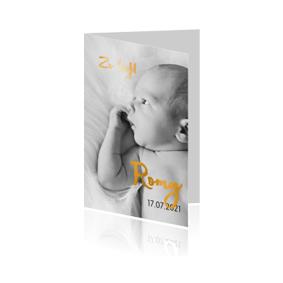 Goudfolie geboortekaartje met foto