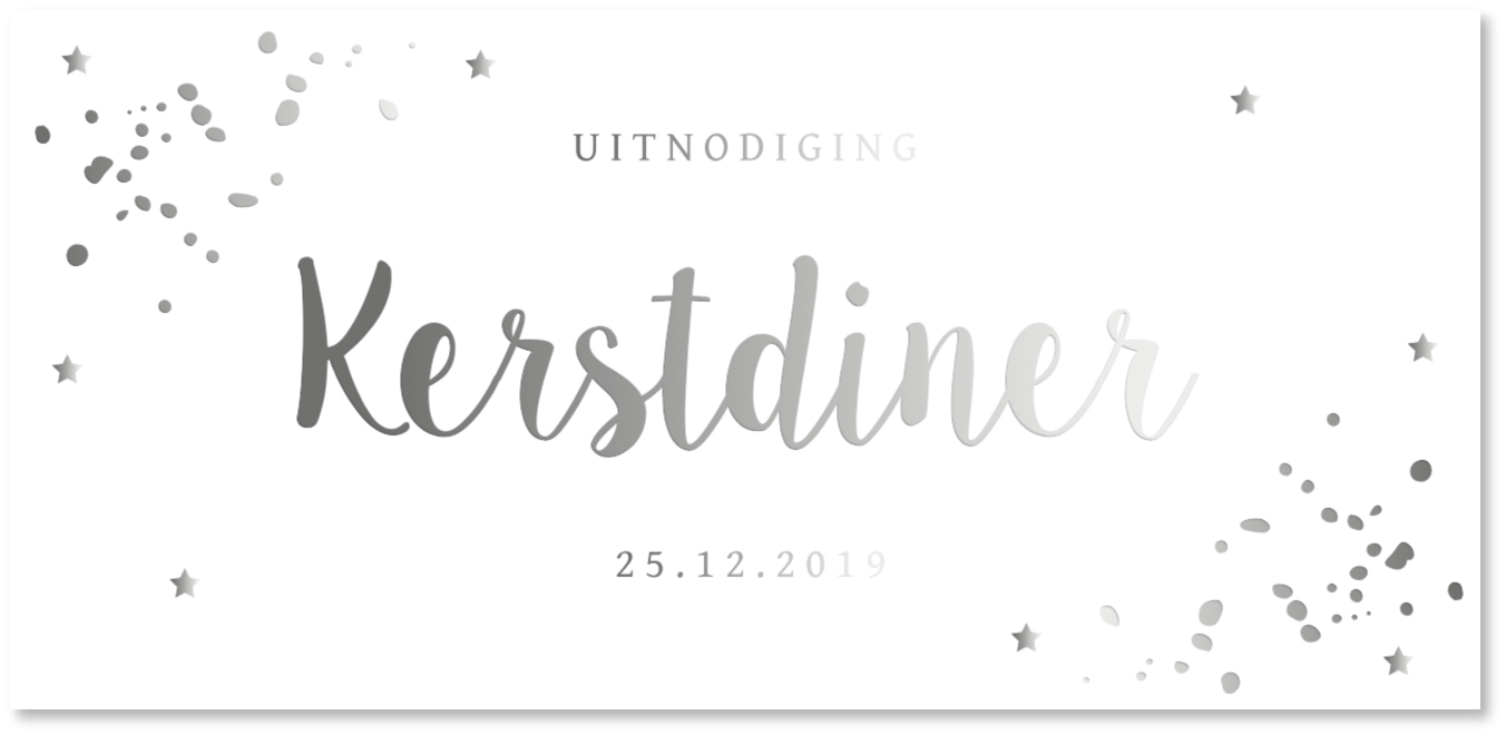 Kerstdiner uitnodiging zilverfolie
