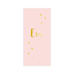 Hippe goudfolie geboortekaart voor meisje met gouden hartjes op roze