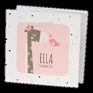 Lief geboortekaartje met giraffe en vogeltje I 507044