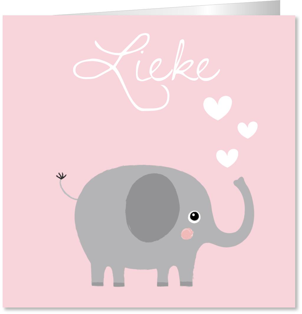 Geboortekaartje olifantje hartjes