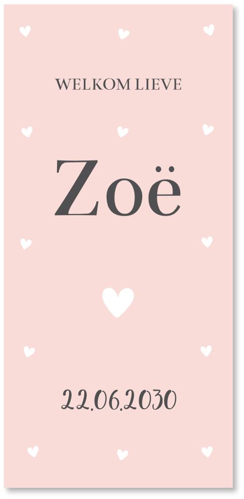 Geboortekaartje hartjes roze langwerpig