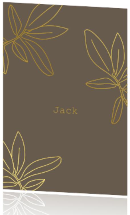 Geboortekaartje voor een jongen met bladeren in goudfolie