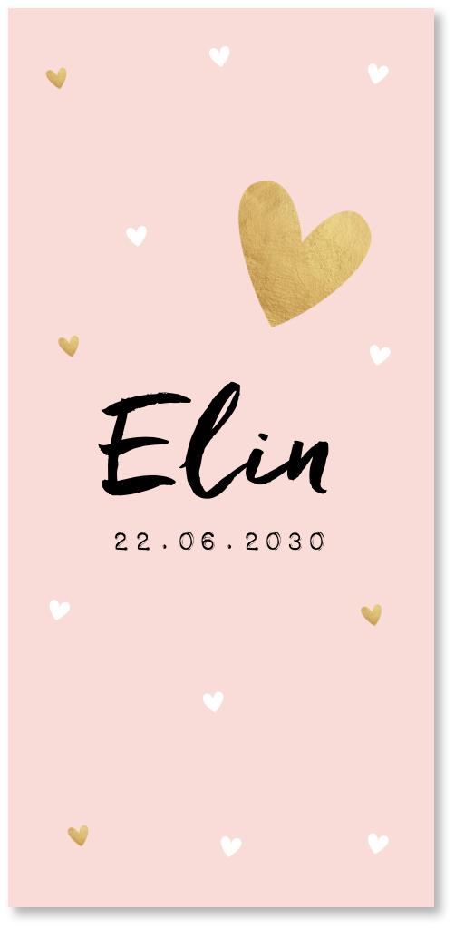Geboortekaartje roze hartjes