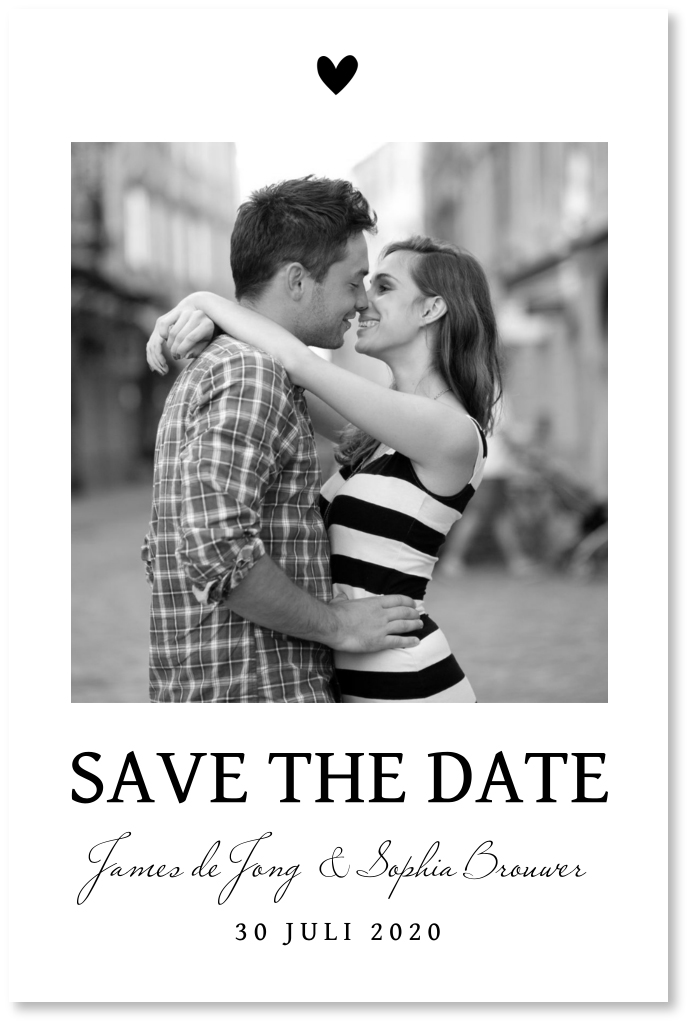 Save the Date kaart foto zwart wit