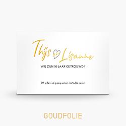 Uitnodiging goudfolie 10 jaar getrouwd typografie hartje