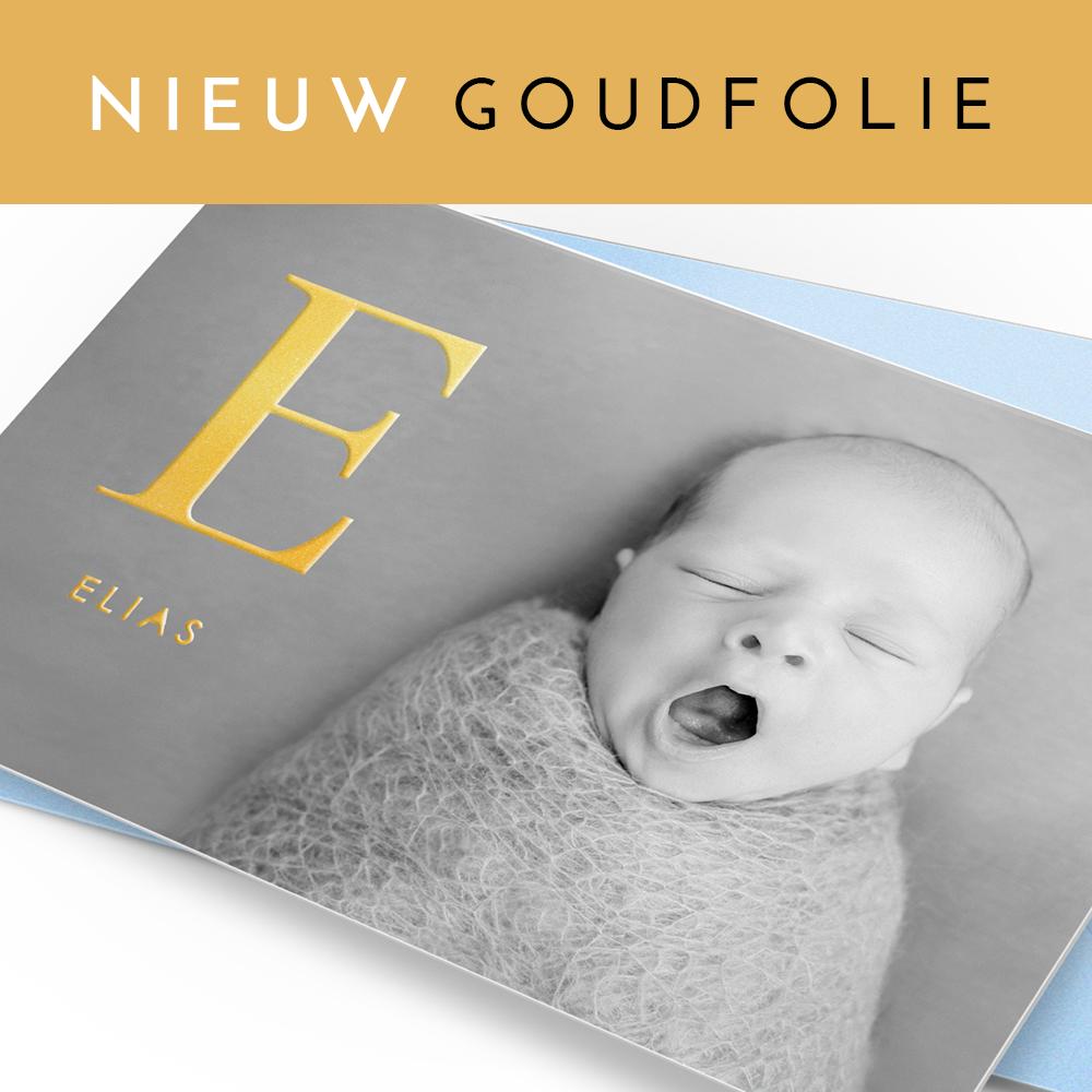 Geboortekaartje echt goudfolie en persoonlijke foto van jullie zoon