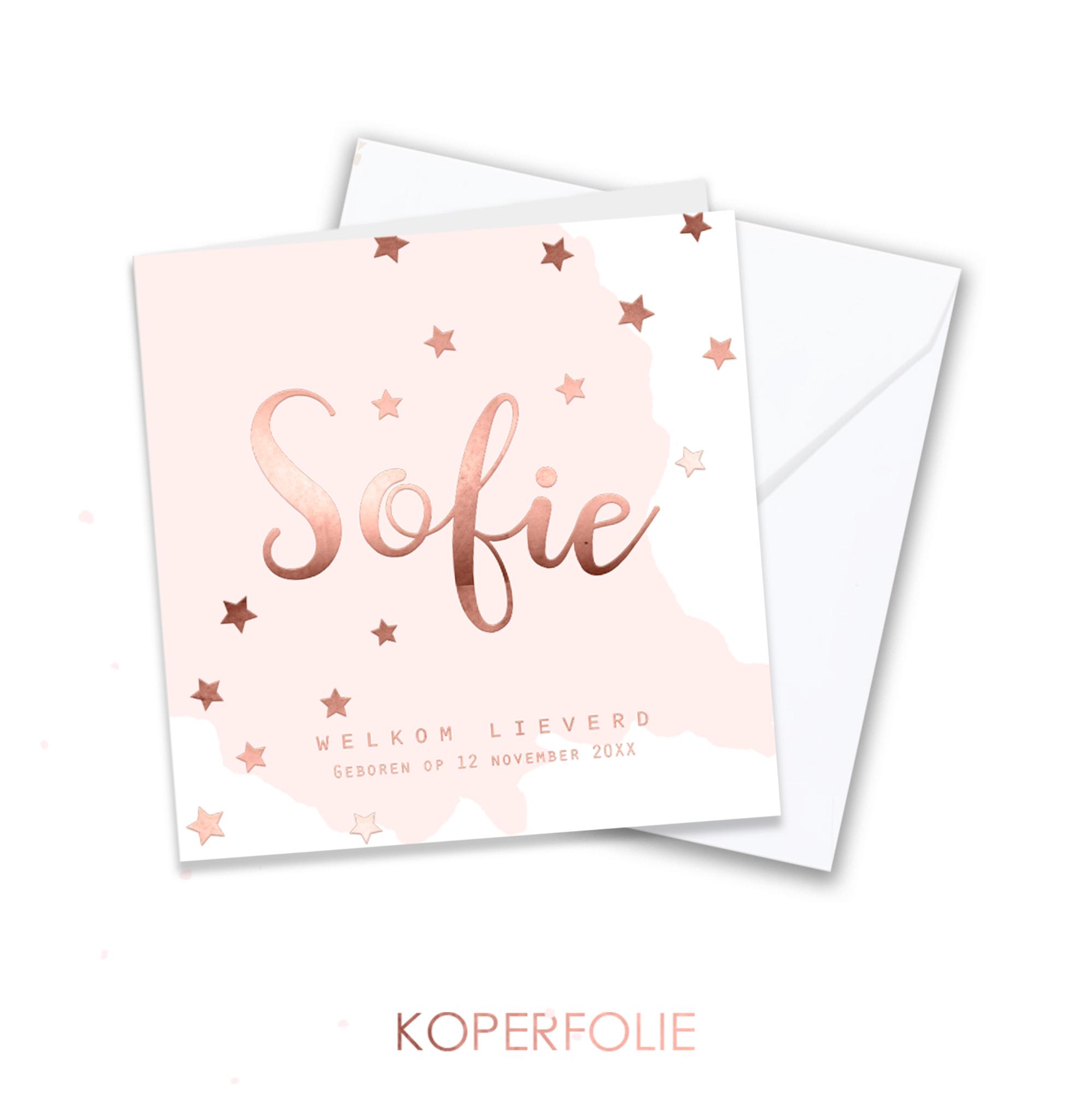 Koperfolie geboortekaart met rosegold elementen op roze vlek