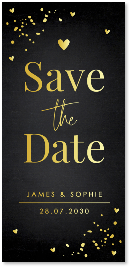 GOUDFOLIE Save the Date kaart zwart confetti
