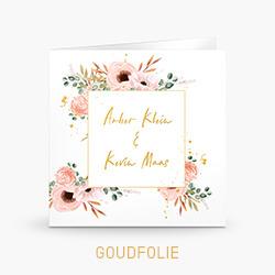 Goudfolie trouwkaart met roze aquarel bloemen