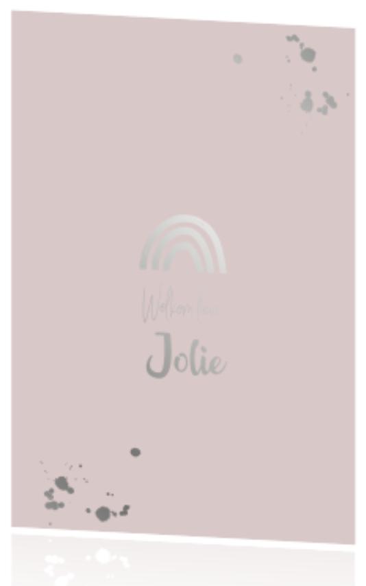 Roze geboortekaartje voor een meisje met regenboog in zilverfolie