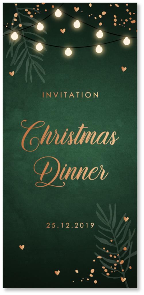 KOPERFOLIE kerstdiner uitnodiging groen