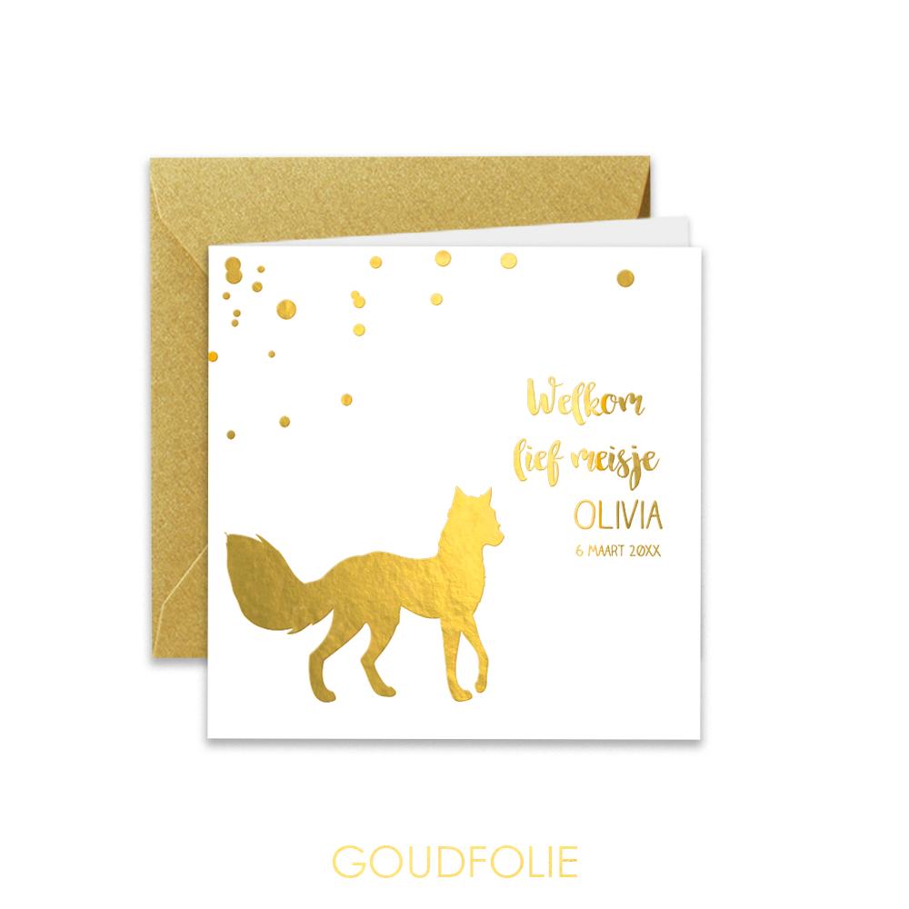 Goudfolie geboortekaartje met vosje en glitters