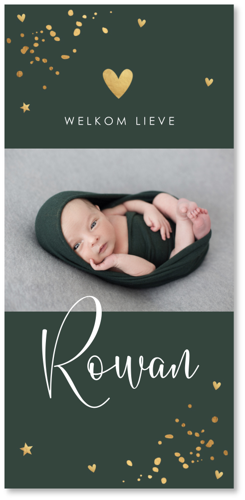 Geboortekaartje confetti goudlook foto
