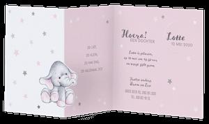 Lief geboortekaartje van Belarto met olifantje en sterren I 717010