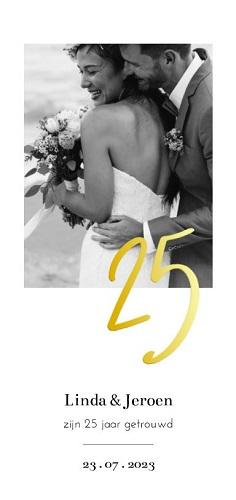 Goudfolie uitnodiging 25 jaar getrouwd met foto