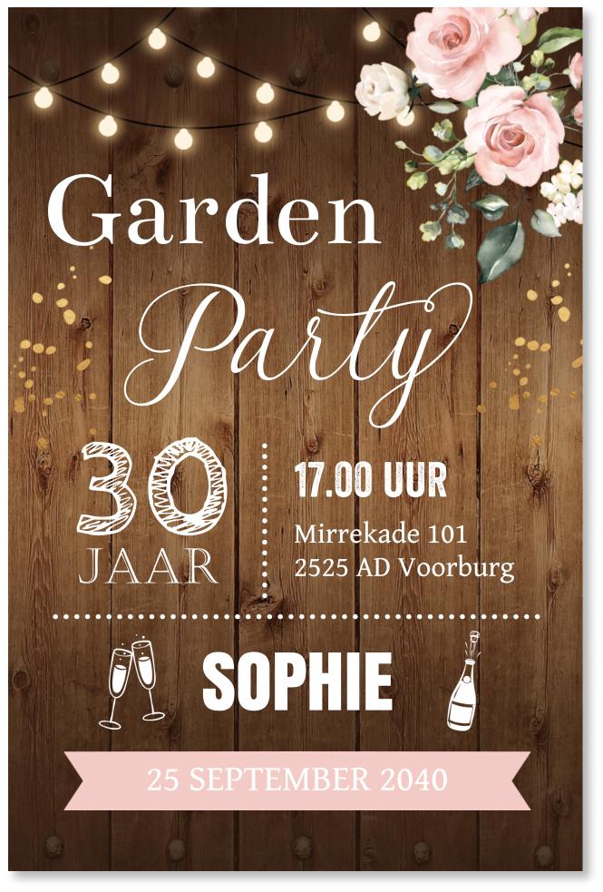 Tuinfeest uitnodiging typografie