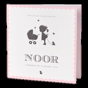 Klassiek geboortekaartje met roze rand en silhouet