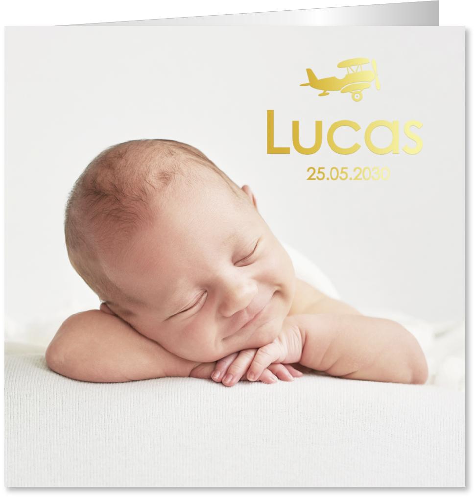 GOUDFOLIE geboortekaartje foto vliegtuigje