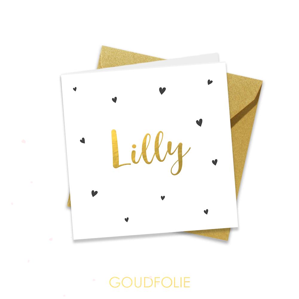 Goudfolie geboortekaartje met hartjes en goud