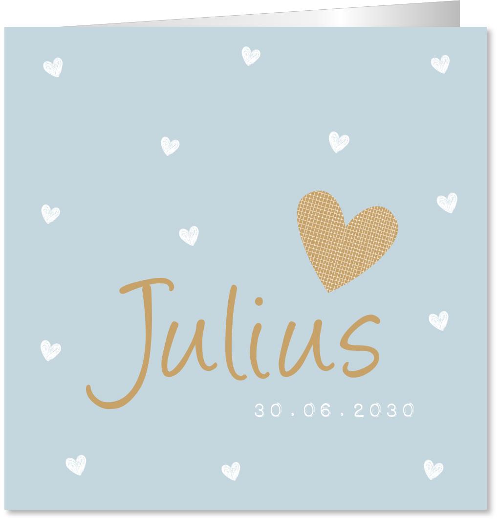 Geboortekaartje hartjes blauw