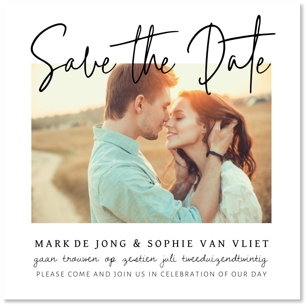 Save the Date kaart foto typografie