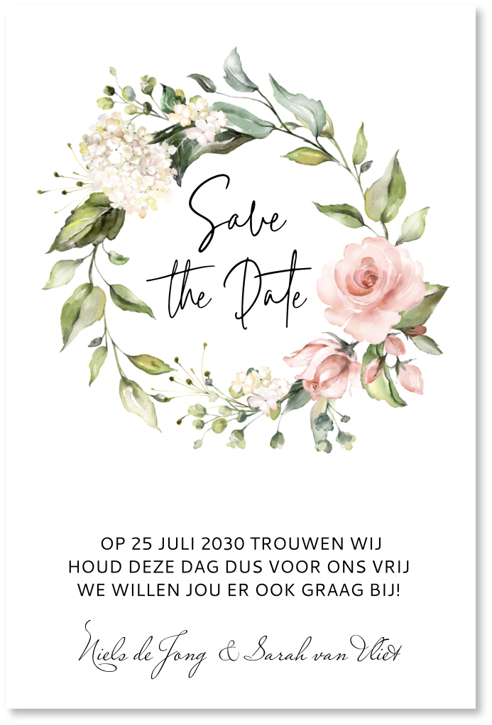 Save the date kaart floral