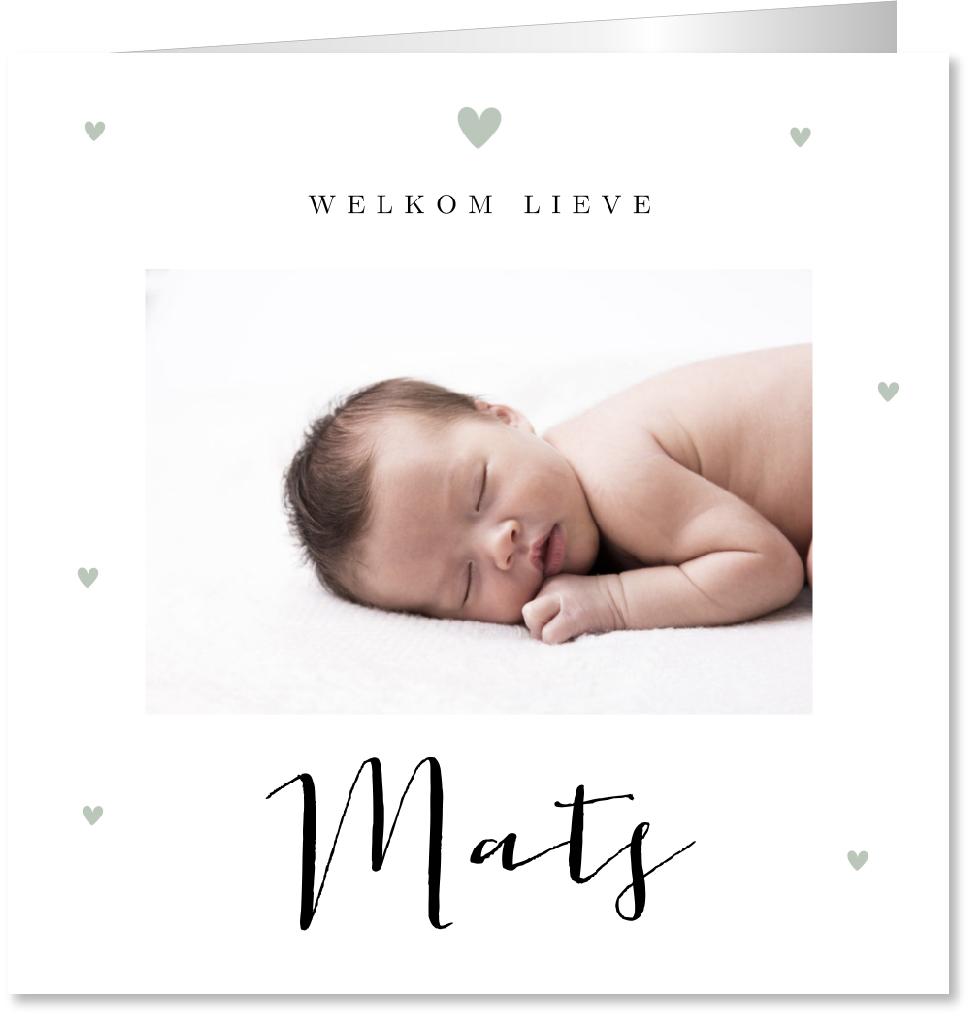Geboortekaartje foto mintgroen hartjes