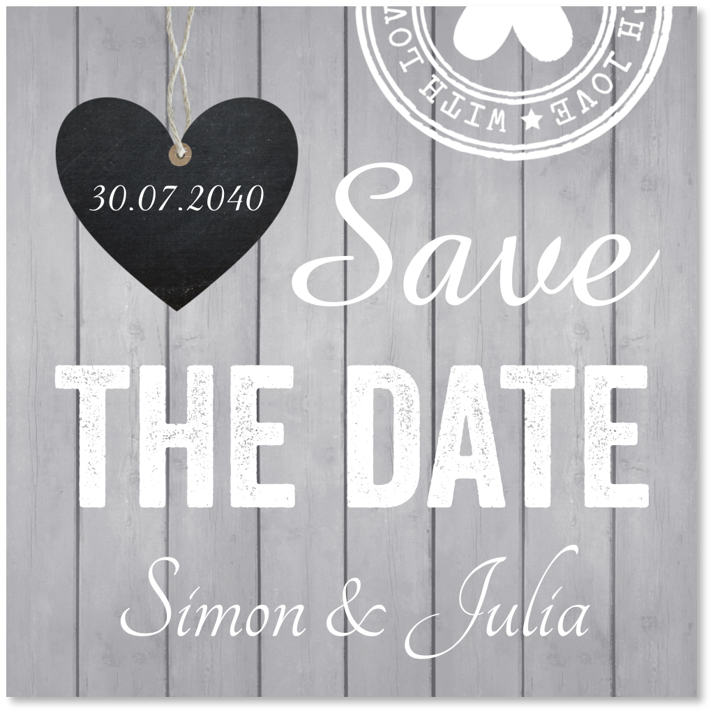 Save the date kaart hout grijs