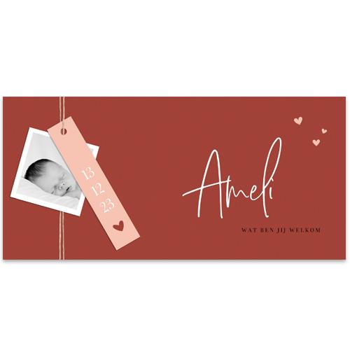 Basic meisjeskaartje met écht label en hartjes