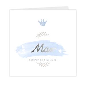 Zilverfolie geboortekaartje met kroontje voor jongen