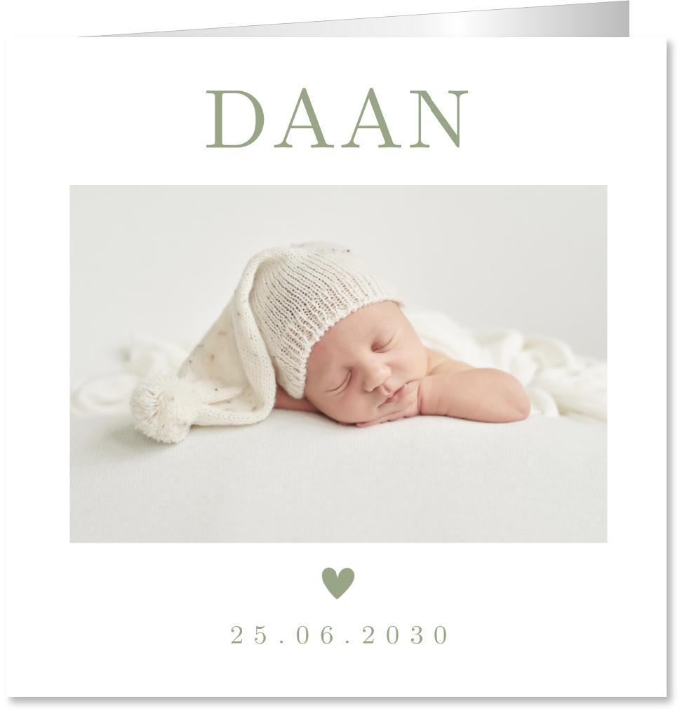 Geboortekaartje foto groen hartje