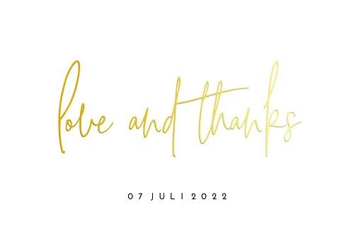 Bedankkaart met goudfolie om jullie gasten te bedanken