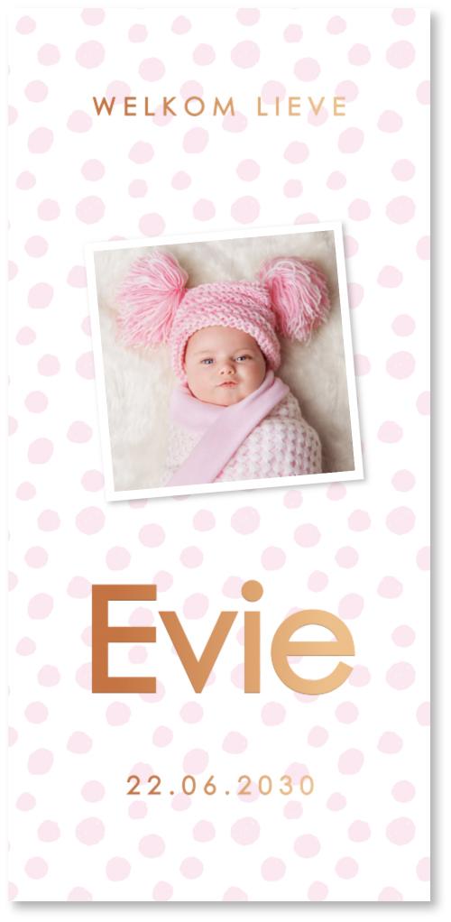 KOPERFOLIE geboortekaartje foto print